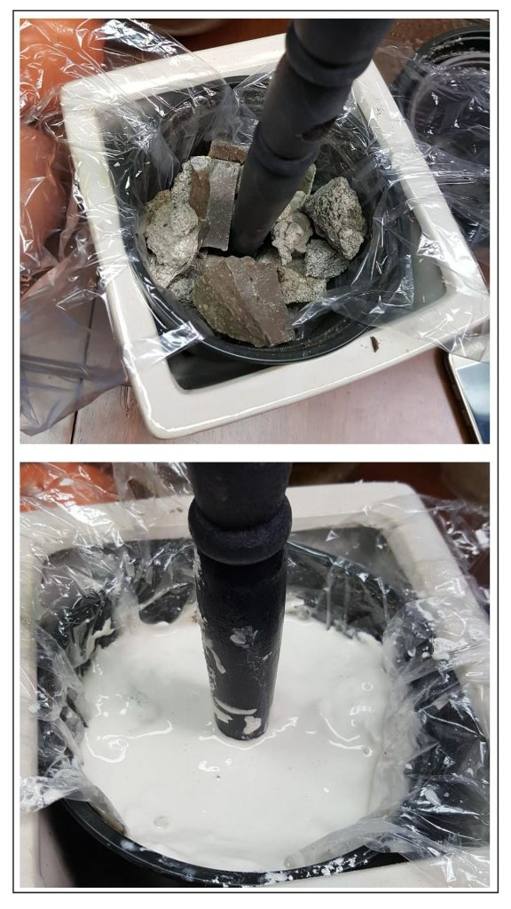 adding plaster of Paris to the base