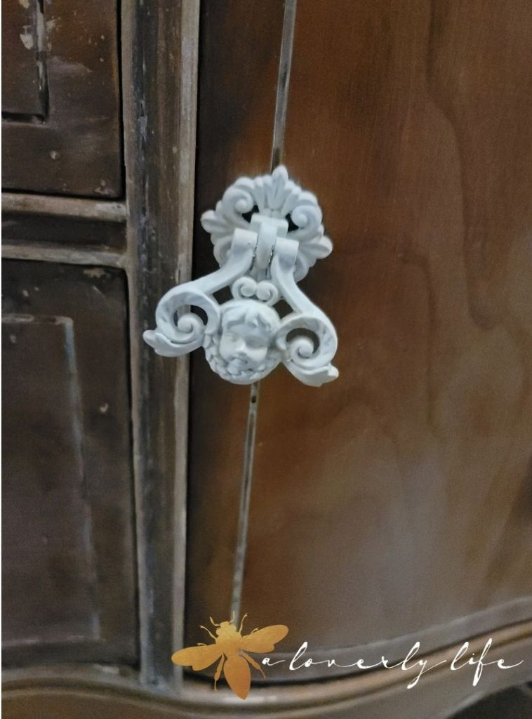 cherub drawer pull door cottage sideboard