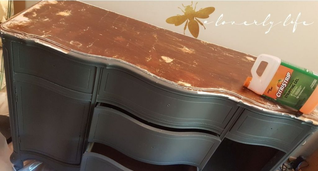 removing paint from top cottage sideboard make over