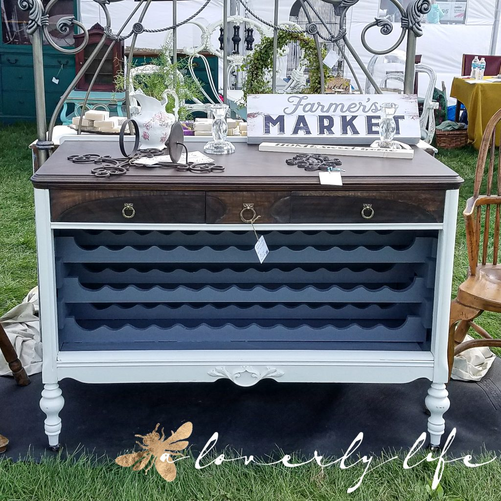 chalked painted dresser at farmer's market