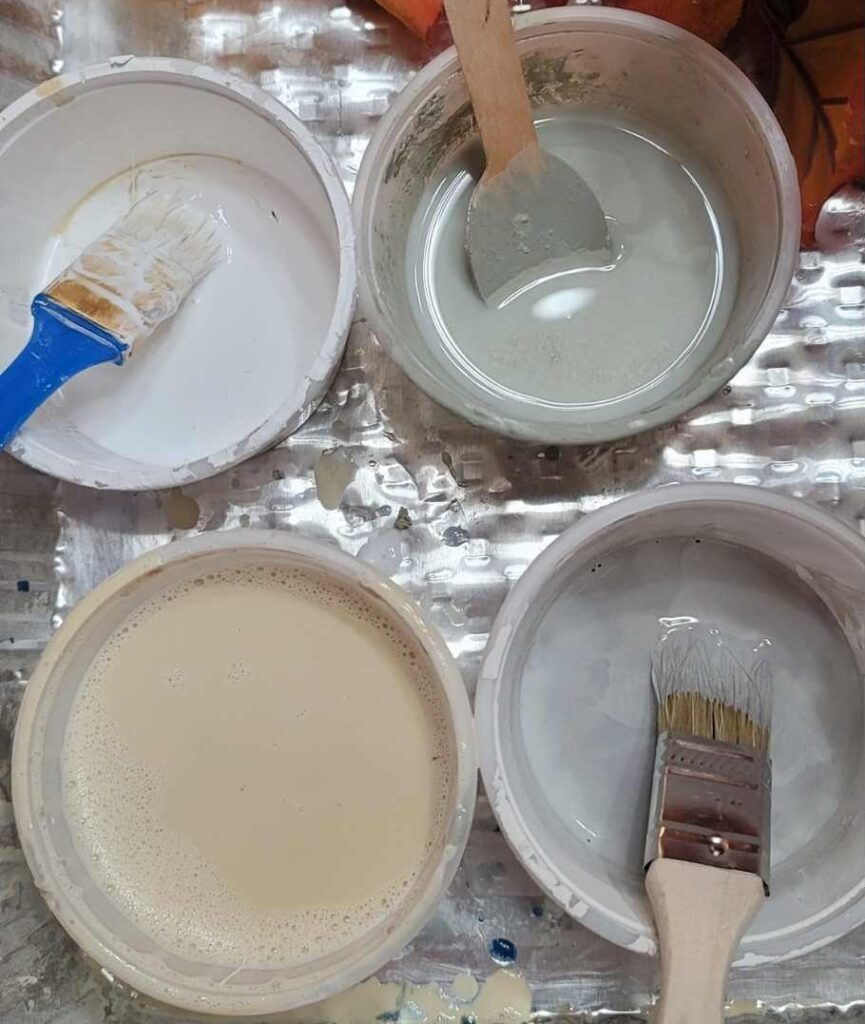 thin paint for muted faux fall foliage DIY