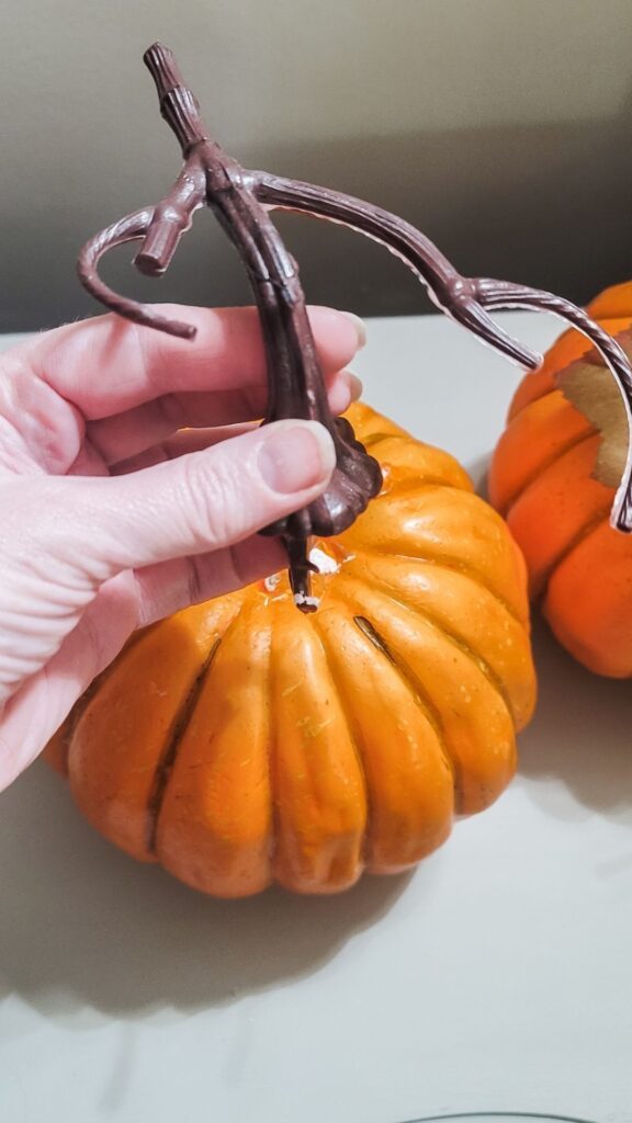 remove stem from faux pumpkin