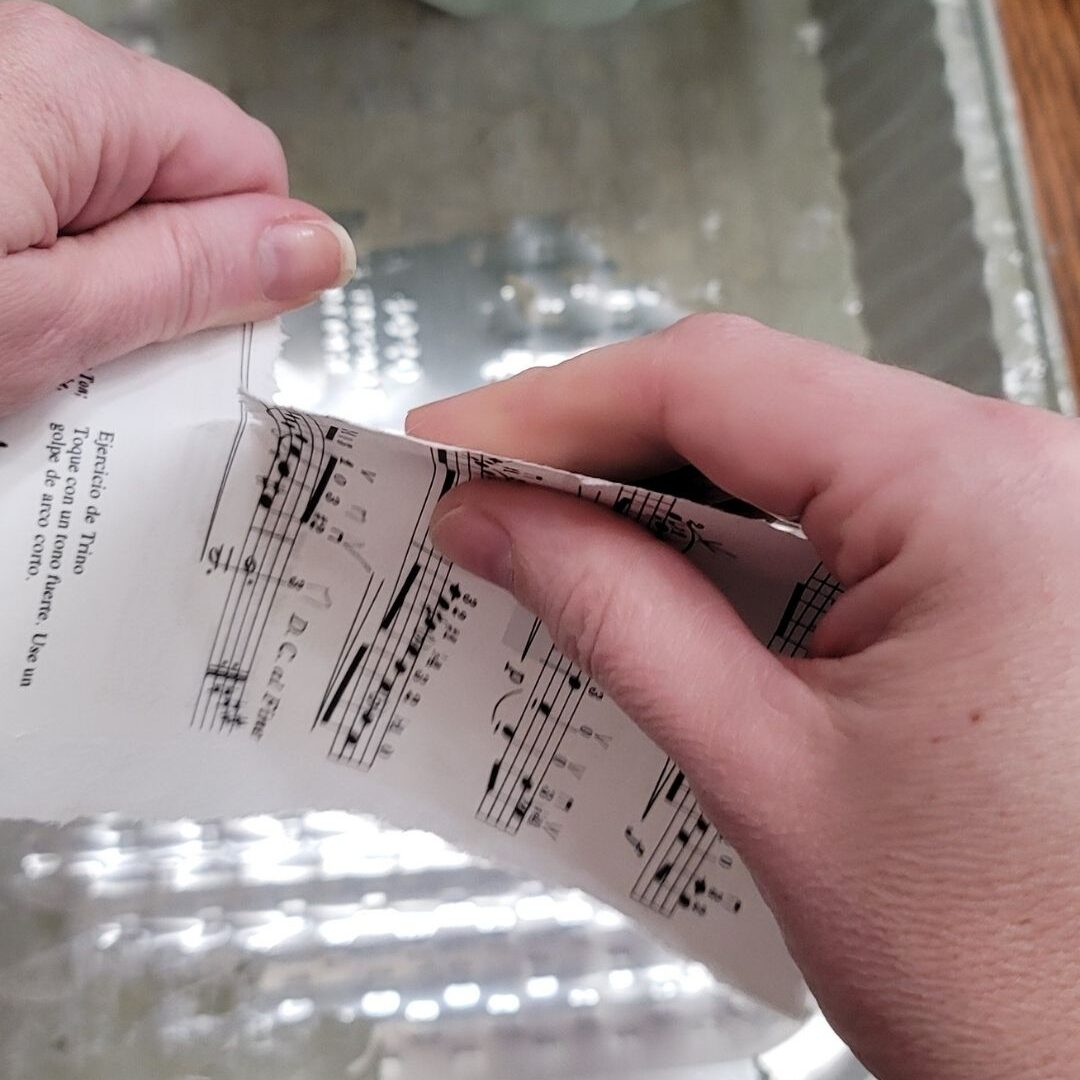 tear paper in to small pieces