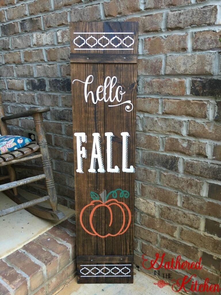 gathered in the kitchen fall porch sign