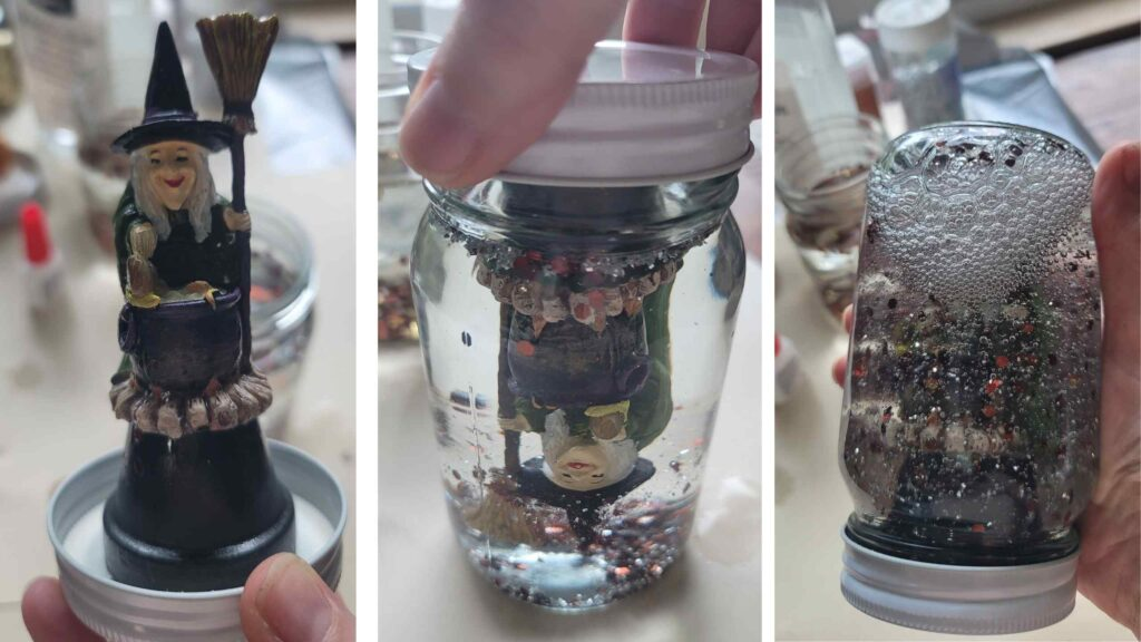 25 Halloween Snow Globe check water level - top off if needed