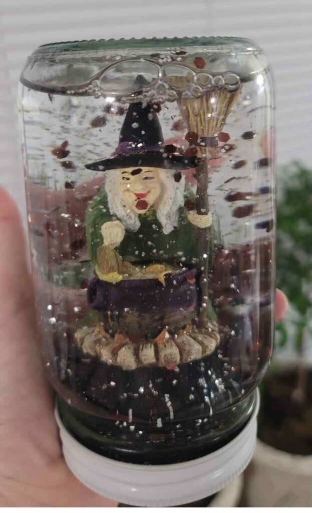 26 Halloween Snow Globe finished witch